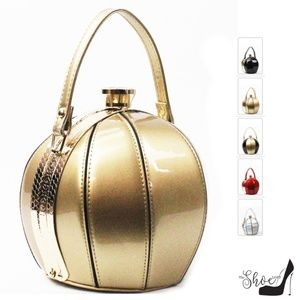 Ball Bag Satchel in Metallic Patent Leather